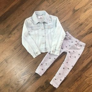 Girls distressed jean jacket and grey leggings